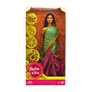 Barbie in India Wearing Pink and Green Saree with Mehndi Stencils For Girls
