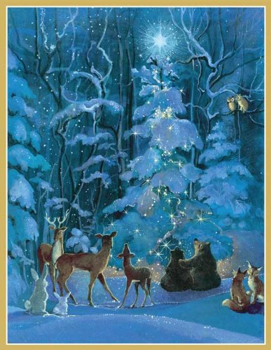 Forest Animals Around Tree Boxed Christmas Cards