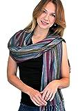 Women's Jewel Shimmer Multicolor Stripe Scarf, Metallic Pashmina Shawl (Berry Dazzling)