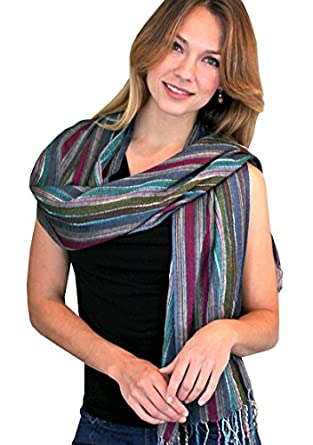 Women's Jewel Shimmer Multicolor Stripes Glamour Scarf / Shawl / Wrap (Berry Dazzling)