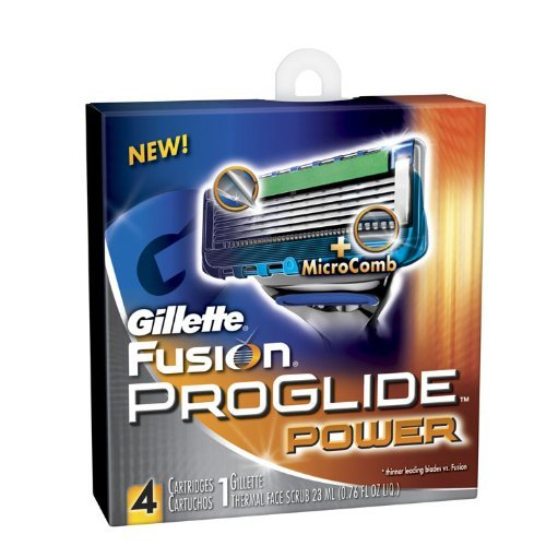 Gillette Fusion Proglide Power 4 Count Cartridge + Bonus Thermal Scrub
