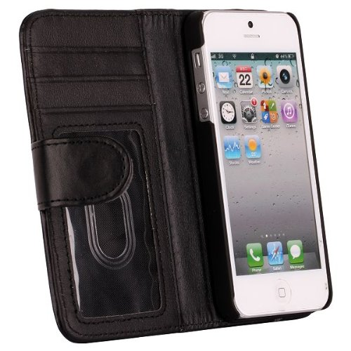 Leather Wallet Case  Stand for iPhone 5 (Black)