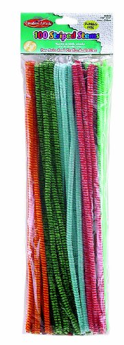 Creative Arts by Charles Leonard Chenille Stems, 6 mm x 12 Inch, Striped, Assorted Colors, 100/Bag (65695)