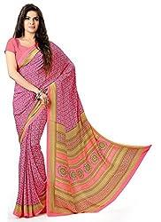 Design Willa Smooth feel Art crepe Sari (DWPC015,Pink)
