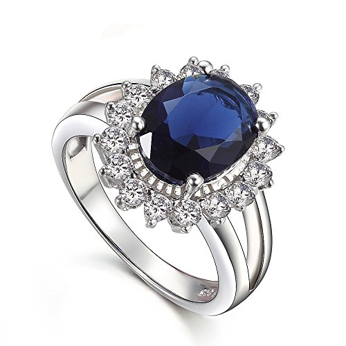 KIVN Fashion Jewelry cubic zirconia Royal blue Princess Diana Engagement Rings for Women(8)