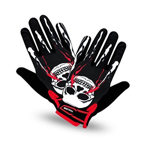 [Wonzone Skull Cycling Gloves Mountain Bike Gloves Road Racing Bicycle Gloves Light Silicone Gel Pad Riding Gloves Full Finger Gloves Men/Women Work Gloves(Black/Red] (Roller Skating Costumes)