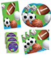 Celebrate Sports Birthday Party Supplies Set Plates Napkins Tablecover Kit for 16 Plus Stickers