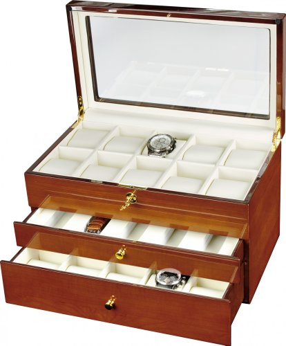 Auer Accessories Gaia 425DM Watch Box For 25 Watches Dark Maple