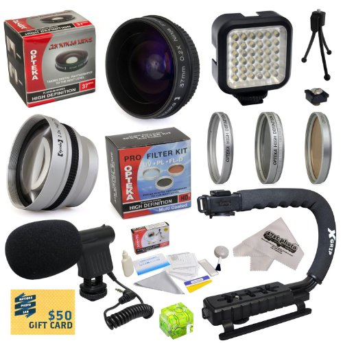 "All Sport Accessory Package Kit For Canon Vixia Hf21 Hfm30 Hfm31 Hfm32 Hfm300 Hf M30 M31 M32 M300 Camcorder Video Camera Includes - 37Mm 0.2X Low-Profile ""Ninja"" Fisheye Lens + 37Mm 2.2X Extreme Hd Af Telephoto Lens + 37Mm 3 Piece Hd Filter Kit (Uv, Cpl,"