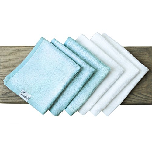 6 Baby Bamboo Bath Washcloths Premium Large Soft White and Blue 11 x 11 inch All Natural Towels by Copper Pearl