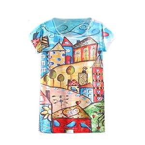 Zeagoo Women Summer Digital/Animal/floral Print Loose Casual T-shirt Dress Top (FZ)
