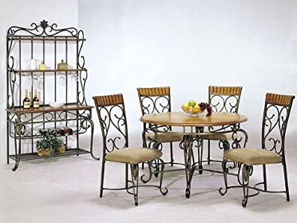 5 pc metal and wood dining table set in oak finish