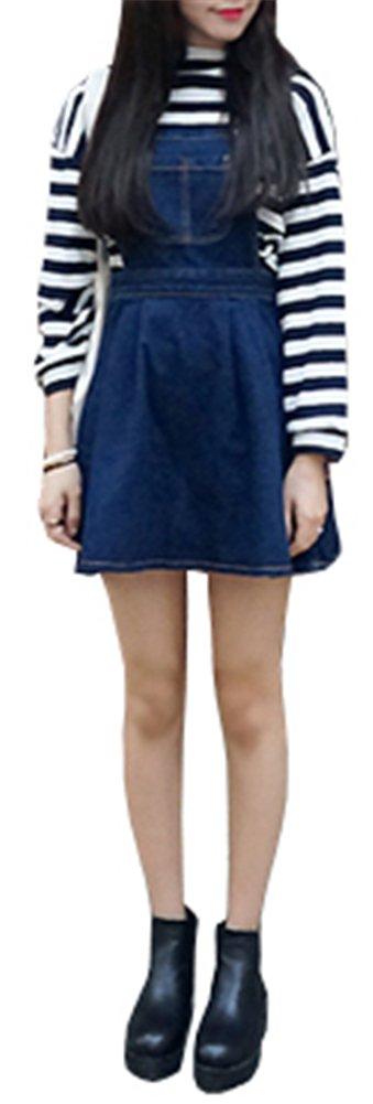 AnVei-Nao Womens Girls Retro Denim Jeans Slim Overalls Casual Ruffle Strap Dress 0
