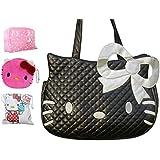 Hello Kitty Travel Weekend Diaper Tote Bag Include a Small Purse Wash Bath Containing Bag Drawstring Storage Bag , Black (Black)