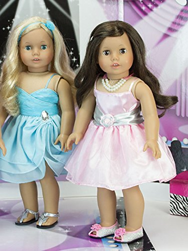 18 Inch Doll Clothes Dress 4 Pc. Set Fits 18 Inch American Girl Doll Clothes & More! (Doll Shoes sold separately) Special Occasion Doll Dress Outfit, Necklace, Gloves & Stole