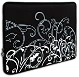 Black & White Fleur fit most of 10.1 inch Acer, Dell, HP, Samsung Netbook Laptop Sleeve Carrying Case