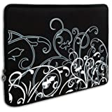 Black & White Fleur fit most of 10.1 inch Acer, Dell, HP, Samsung Netbook Laptop Sleeve Carrying Case ~ MyGift