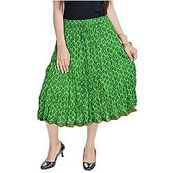 SHREEMANGALAMMART Rajasthani Ethnic Green Cotton Short Skirt (Parrot Green)(SMSKT586)