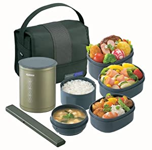 zojirushi thermal lunch box bento bako sz da03 gl olive green japan import. Black Bedroom Furniture Sets. Home Design Ideas