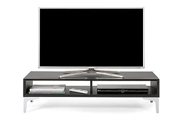 Mobilifiver - Mueble ancho para TV de madera de fresno, color negro, 112x 40x 27cm
