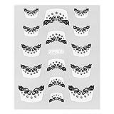 Everydaysource® White/ Black Veil with Diamonds 3D Nail Art DIY Tattoo Stickers