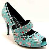 Tuk Womens Turquoise Sky Hi Peeptoe Open Toe Anchor Print High 13cm (5 Inch) Heel Court Shoes