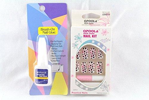 Ear Lobe & Accessories Personal / Professional Reusable False Frensh Nails Leopard Designe+Nail Glue