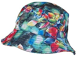 Tropic Hats Lightweight Hawaiian/Floral Designed Floppy Bucket Cap (One Size) - Red/Green/Blue