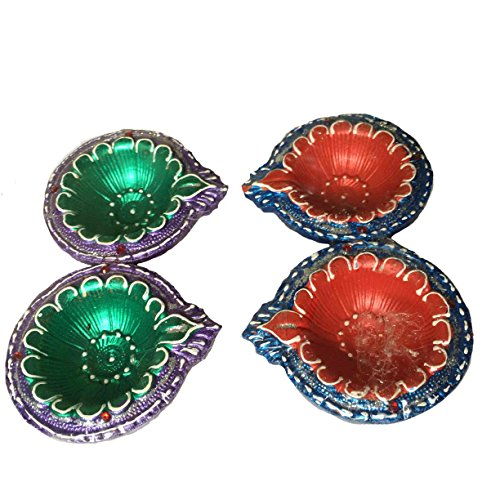 Designer Set of 4 Diwali Diya in Unique Color Hand Painted for Home Décor