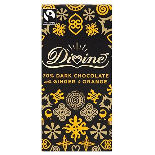 Divine Fairtrade Dark Chocolate - 70% Cocoa Ginger & Orange (100g)