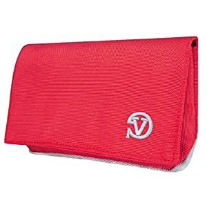 Vangoddy Pouch with Rear Zippered Pocket & Wallet Case for All Smartphones - Retail Packaging - Red/Grey