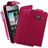 BAAS® Coque Huawei Ascend Y300 Rose Etui Cuir Clapet Housse + 3x Film de Protection d'Ecran + Stylet Pour Ecran Tactile Capacitif