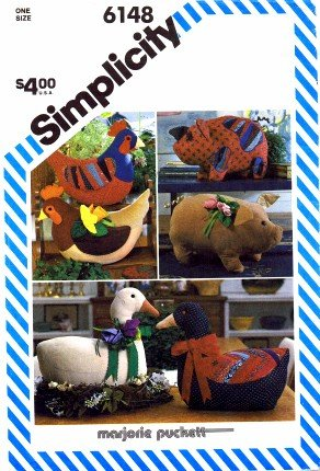 Simplicity 6148 Sewing Pattern Marjorie Puckett Goose Hen Pig Stuffed Animals