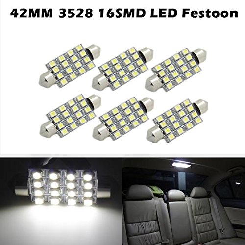 Partsam 6pcs 42MM festoon led Dome 16SMD No Error LED 3528 Car Interior Light White For 2005-2013 Ford Escape (Ford Escape Dome Light compare prices)