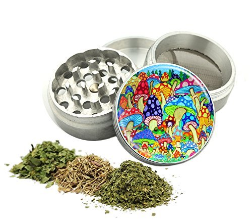 Psychedelic Mushrooms Design -42 mm- 4Pcs Small Size Herbal Grinder Item #G42-5715-493 (Grinders For Weed Mushroom compare prices)