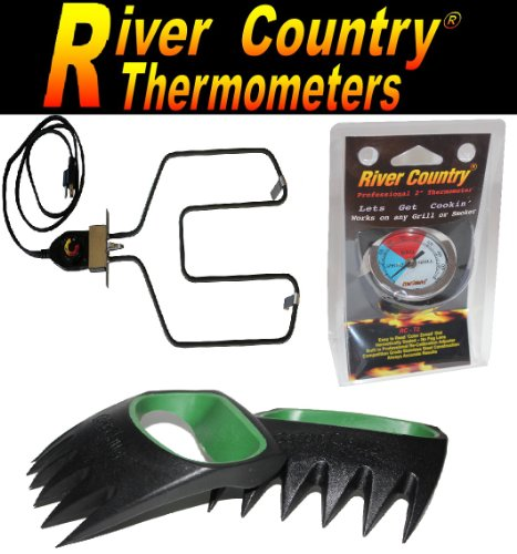 "River Country Electric Smoker / Grill Combo Kit, Electric Heating Element And Controller W/ 2"" River Country Thermometer And Gator Claws For Lifting, Shredding And Serving"