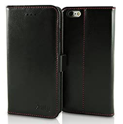 iPhone 6, iPhone 6S Handmade Leather Case by Finity Cases - iPhone Wallet Case With 2 Credit Card Holder Slots - Built-In Kick Stand & Magnetic Closure - Genuine Cowhide Leather - (Red Stitching)