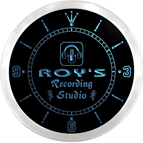 Ncqm0065-B Roy'S Recording Studio On Air Microphone Bar Beer Led Neon Sign Wall Clock