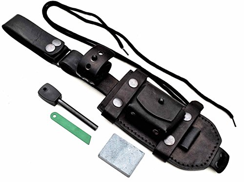 CFK Cutlery Company USA Custom Handcrafted BLACK Modular Bushcraft DUAL-CARRY DANGLER Knife Blade HORIZONTAL-VERTICAL Sheath with Sharpening Stone & Fire