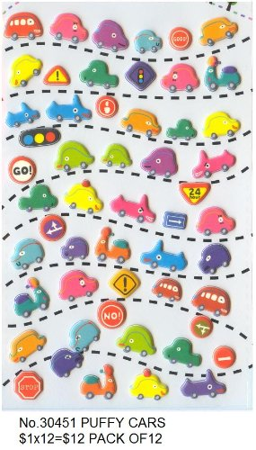 Kawaii Puffy Cars Sticker, 2 Sheets, #30451