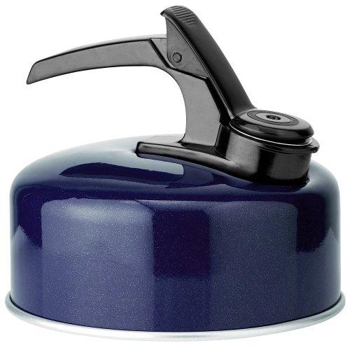 blue aluminum whistling tea kettle