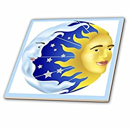 3dRose Sun Moon & Stars - Glass Tile, 8-Inch (ct_39599_7)