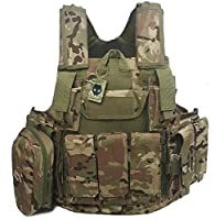 ATAIRSOFT 800D Heavy Duty Tactical Airsoft MOLLE Combat Vest Multicam(MC) w/ Magazine pouch by ATAIRSOFT