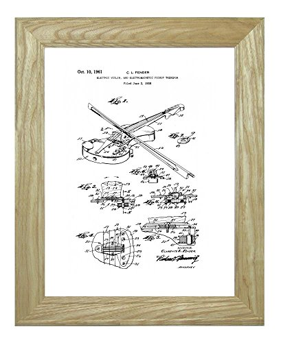 """Electric Violin Electromagnetic Pickup Patent Art White Matte Print In A Natural Raw Wood Frame (11"""" X 14"""")"""