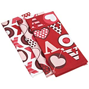 DII Valentine Be Mine Big Love Print Dishtowels