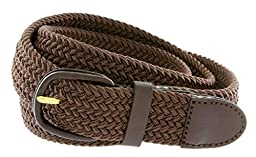CTM® Mens Elastic Braided Belt with Covered Buckle (Big & Tall Available), XXL, Brown
