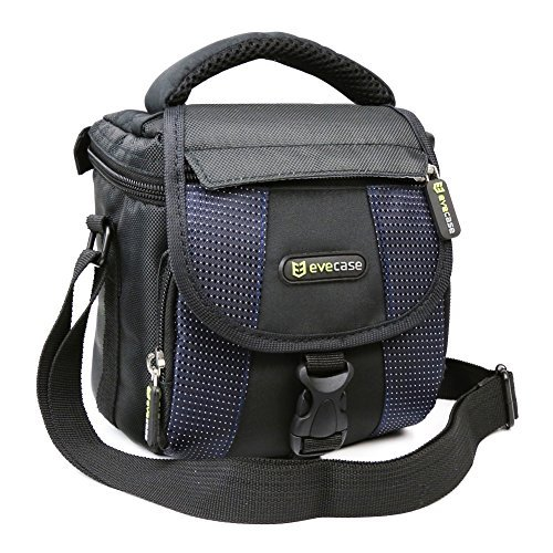 Evecase Camera Carrying Pouch Case Bag with Strap- Black/Blue for Canon EOS 100D, 700D, SX530 HS, SX60 HS, SX510 HS, SX410 IS, SX500 IS, PowerShot G1 X Mark II, G12, EOS 1100D, EOS 600D, Nikon D3200, D3100, D5300, D5100, Panasonic DMC-G5, DMC-LZ30, DMC-FZ200, Sony NEX-5R, NEX-F3, EX-5N, HX100V, HX200V, Fuji X20, X-T1, X-S1, X-M1, X100S, X-E2, FinePix S4500, S8400, Olympus OM-D E-M10, E-PL5, Stylus 1, E500, Sony a5000L, H200, A6000, NEX3NL, Alpha A58 Digital Camera