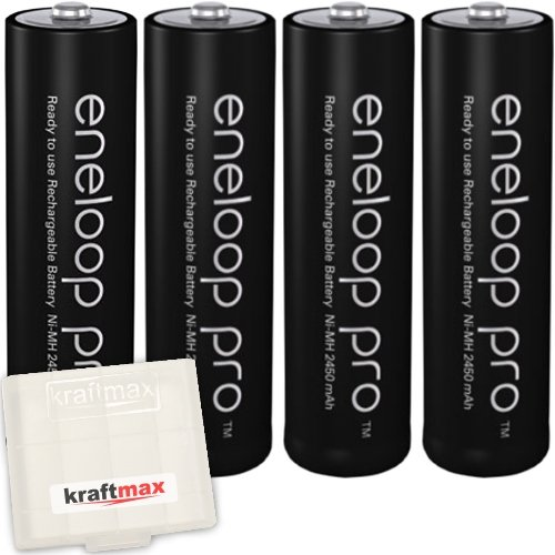 Kraftmax 4er-Pack Panasonic Eneloop PRO XX AA / Mignon Akkus - Neueste Generation - 2550 mAh Hochleistungs Akku Batterien in Kraftmax Akkubox V5, 4er