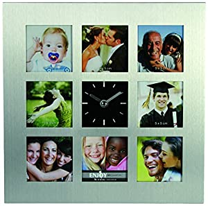 Brushed Aluminium Wall Clock with a stand 8 Pictures Photo Foto frames