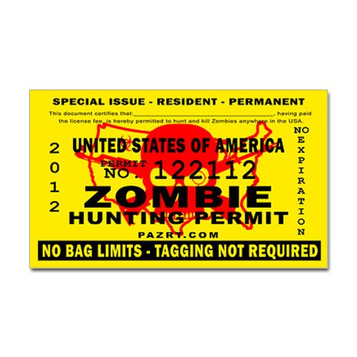 US Zombie Hunting Permit Sticker Rectangle by CafePress - White